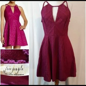 Free People Miss Connections Fuchsia Cut Out Dress